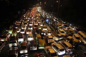 Traffic Jam in New Delhi, during the Chhath festival, 17 November 2015 in New Delhi, India