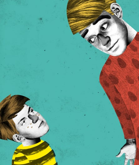 Illustration of a man talking to a boy