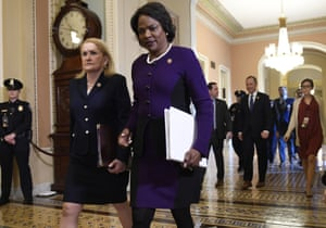 House Democratic impeachment managers Sylvia Garcia, of Texas, and Val Demings, of Florida, arrive at Capitol Hill in Washington for the impeachment trial of President Donald Trump