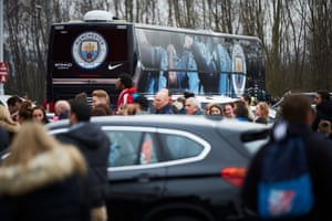 The Manchester City team coach leaving the Riverside bound for Manchester and onwards to the semi-final at Wembley.