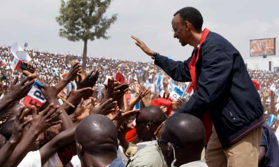 President Kagame shakes hands with members of the crowd at a rally in Gicumbi, northern Rwanda, in August 2010.