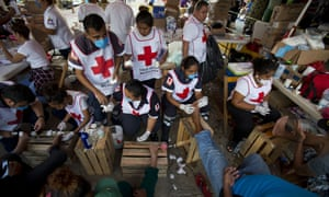 Red Cross volunteers in Arriaga, Mexico on 26 October 2018.
