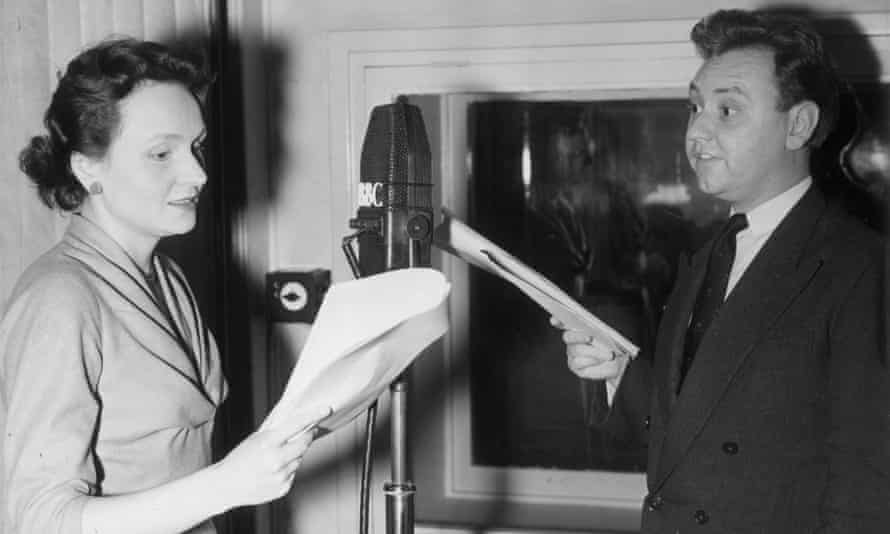 Ysanne Churchman and Norman Painting recording a 1954 episode of The Archers in which they play the engaged couple Grace Fairbrother and Philip Archer.