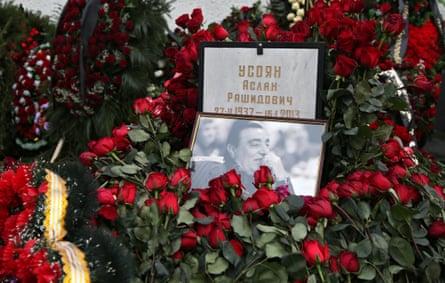 The grave of crime boss Aslan Usoyan at Khovanskoye cemetery in Moscow