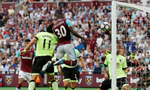 West Ham United's Michail Antonio breaks the deadlock against Bournemouth with an 85th-minute header