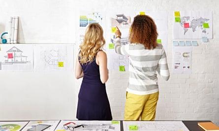 Women looking at charts