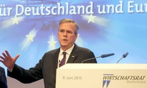 Jeb Bush gives a speech in Berlin on Tuesday.