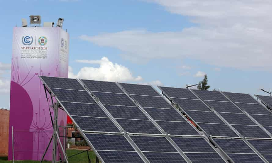 Solar panels at the site of COP22, the UN's climate change conference, in Marrakech, Morocco