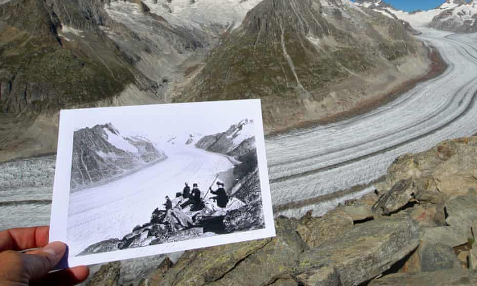 A picture of the Aletsch Glacier, taken between 1860 and 1890, is displayed in the same location in 2019.