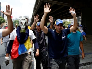 Venezuelan opposition leader and Governor of Miranda state Capriles participates in the rally