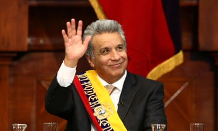 Ecuador's President Lenin Moreno waves during his inauguration ceremony.