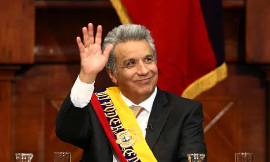 Ecuador's President Lenin Moreno waves during his inauguration ceremony.