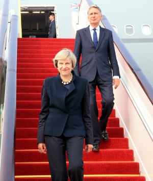 British prime minister Theresa May and chancellor Philip Hammond are given the full red carpet treatment on arrival in Hangzhou on Sunday.