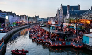 Centre of town during Gent's summer festival Klankfest. Lots of events taking place by the river.