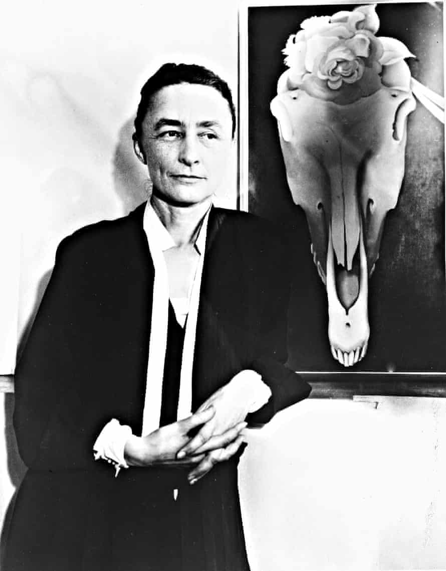 Georgia O'Keeffe and one of her skull paintings, 1931