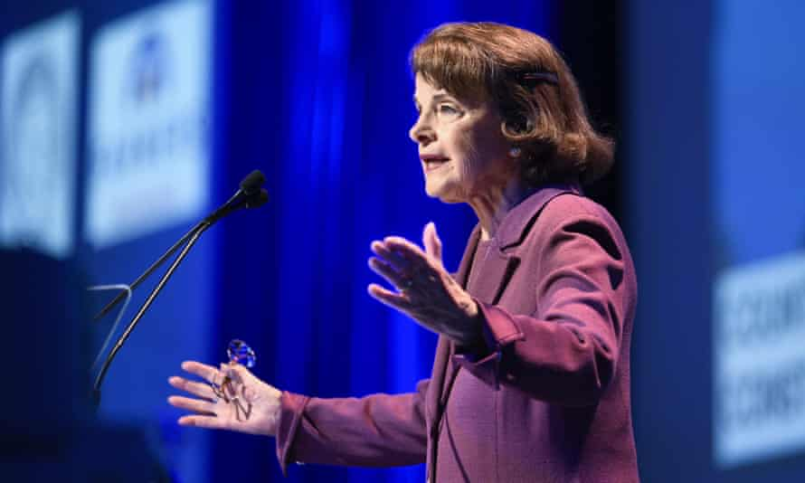 Dianne Feinstein at this weekend's party convention in San Diego, California. The battle between Feinstein and de León underscores tensions still simmering after the 2016 election.