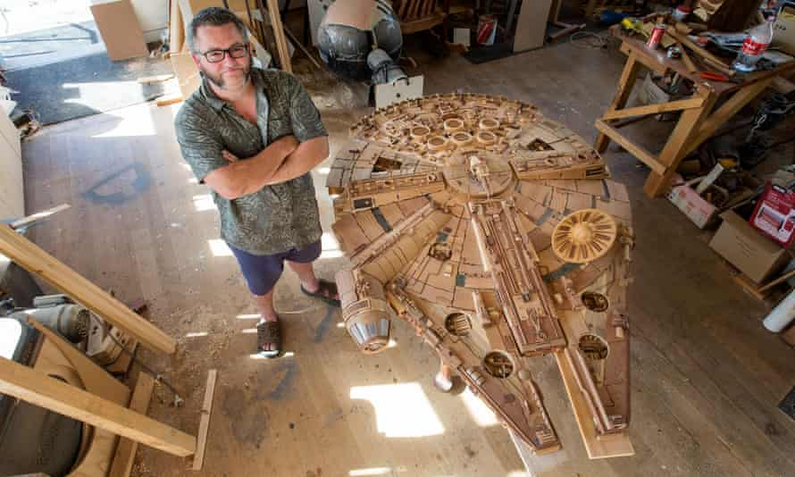 'Some people pay thousands for therapy. I play around with wood' … Martin Creaney with his Millennium Falcon.
