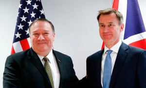 Mike Pompeo meets Jeremy Hunt at the European council in Brussels.
