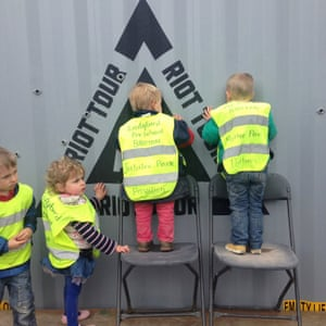 Children peer into the container on one of its tour stops.
