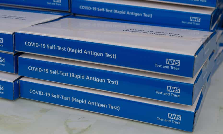 Free NHS Covid-19 lateral flow test packs were being given out to members of the public