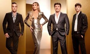 Panel beaten… 2018 X Factor judges Robbie Williams, Ayda Field, Simon Cowell and Louis Tomlinson.