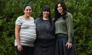 Sisters Elly Sapir, Dassi Erlich and Nicole Meyer in Melbourne on Wednesday morning. They are among the alleged victims of former Australian principal Malka Leifer, who an Israeli court has ruled is mentally fit to be extradited to Australia.
