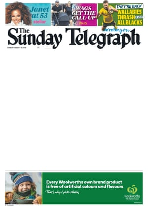 Digital edition of the front page of the Sunday Telegraph, with the story about Daniel Johns removed.