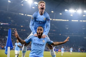 Raheem Sterling is congratulated by Oleksandr Zinchenko after giving Manchester City the lead.