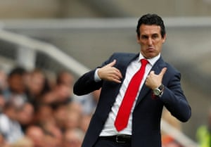 Arsenal manager Unai Emery gestures as his team beat Newcastle 2-1 at St James' Park. All 10 of Arsenal's Premier League goals this season have been scored by different players - including one own goal.