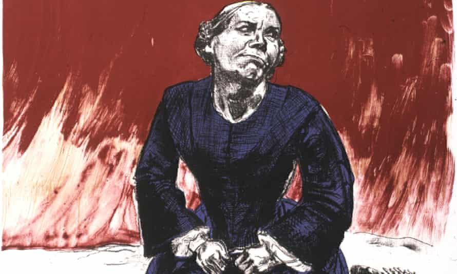 Paula Rego's Come to Me from her Jane Eyre series. This is the final work in Rego's series and shows Jane in her later years. 'Come to me' refers to the blind Rochester calling her.