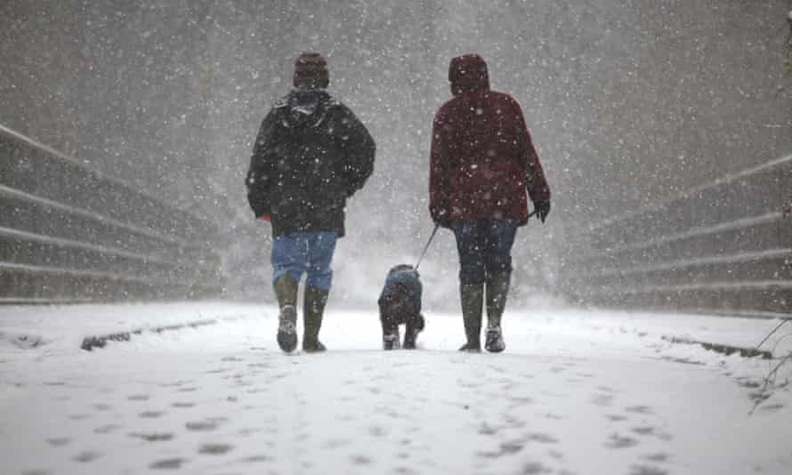 Two dog owners walk through snow with their dog in Crawley, England