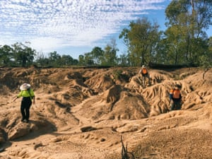Fossils are found emerging out of the ancient flood plains of South Walker Creek.