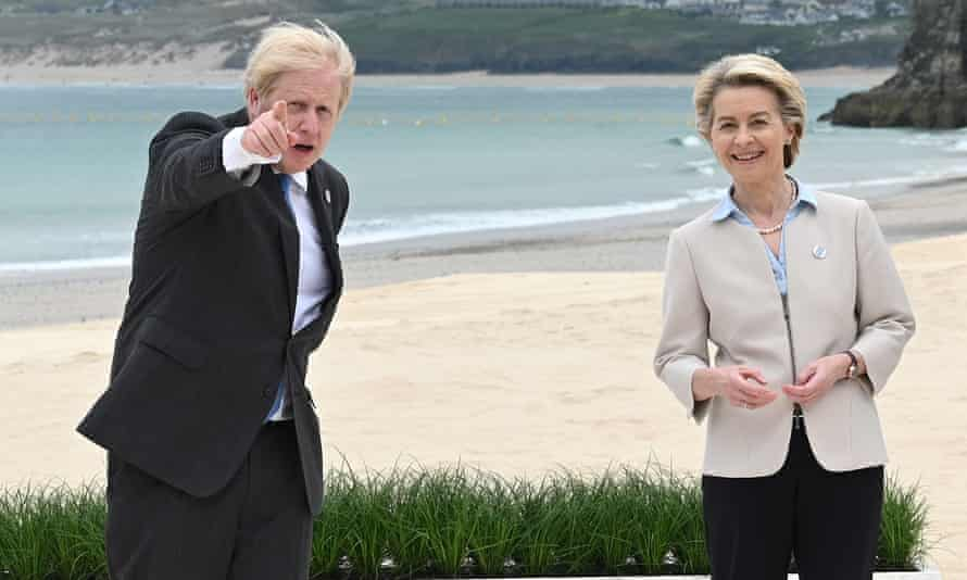 Boris Johnson with the president of the European Commission, Ursula von der Leyen, at the G7 summit in Carbis Bay, Cornwall, England.