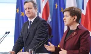 David Cameron with Polish prime minister Beata Maria Szydło in December 2105.