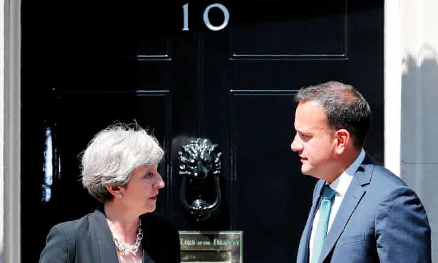 Britain's prime minister Theresa May with Ireland's taoiseach Leo Varadkar at 10 Downing Street.