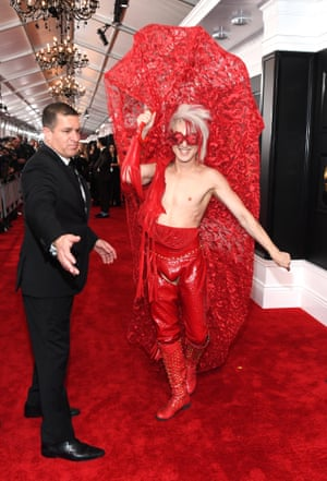 Ricky Rebel makes an entrance at the 62nd Annual GRAMMY Awards.