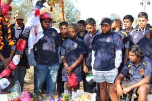 Classmates of Elijah Doughty, from the Clontarf Goldfields Academy visit his memorial.