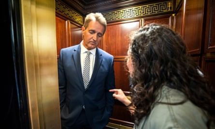 Jeff Flake is confronted in the elevator.