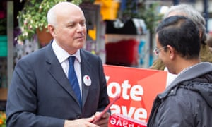 Iain Duncan Smith campaigning for Vote Leave in Wisbech, Cambridgeshire.