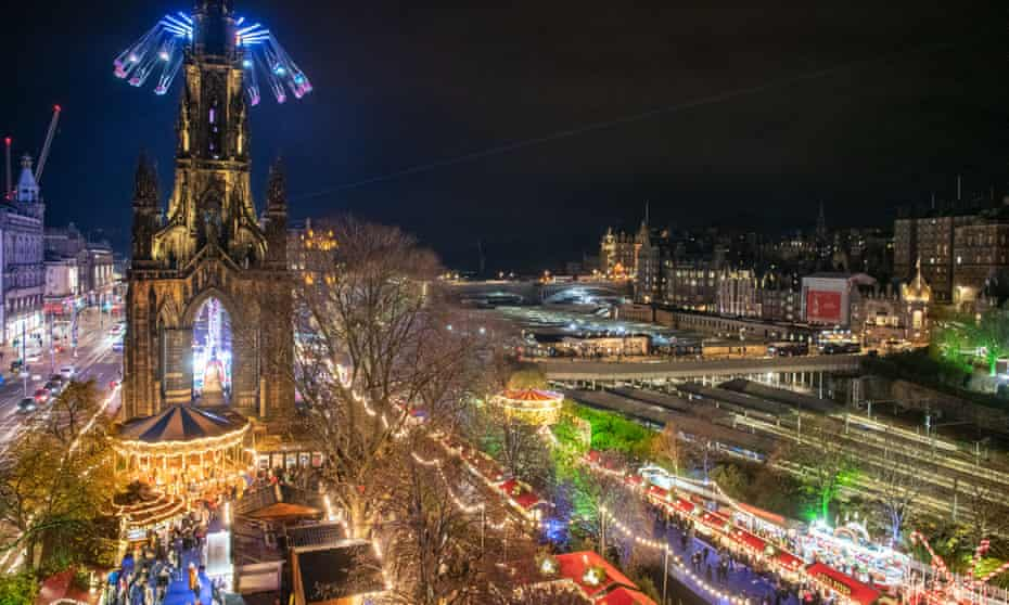 Edinburgh's Christmas German market in Princes Street Gardens.