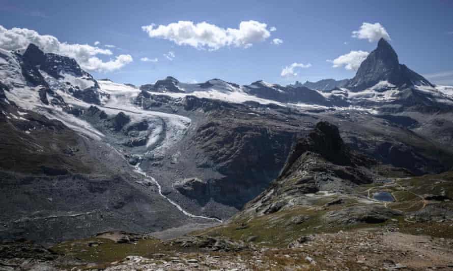 The Unterer Theodulgletscher glacier above Zermatt is melting at a markedly increased rate.