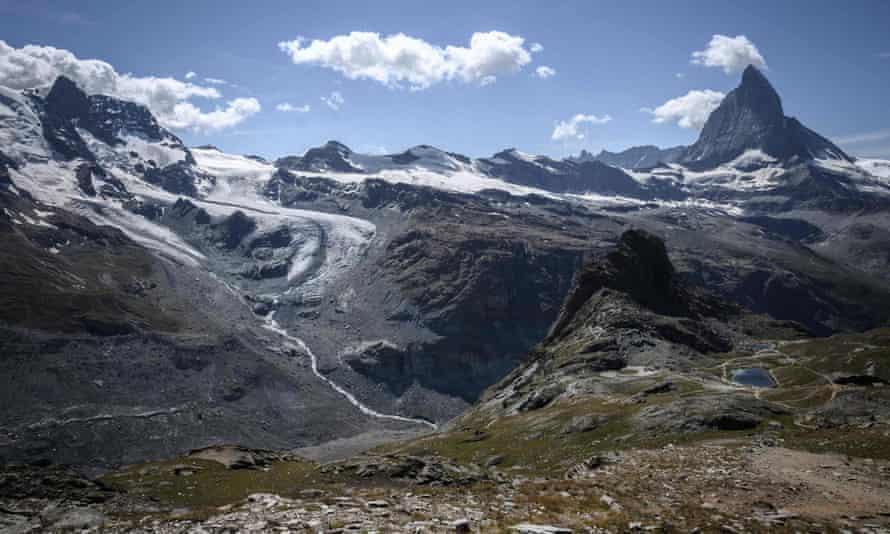 The Lower Theodul glacier near to the Matterhorn mountain in Switzerland.