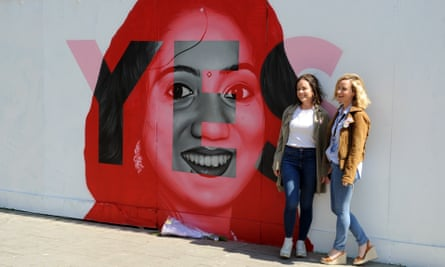A Dublin mural of Savita Halappanavar who died as a result of pregnancy complications while living in Ireland.