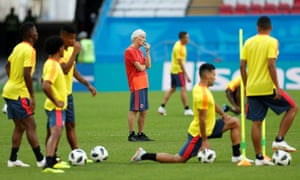 José Pekerman leads Colombia training in Kazan, where his side will be in dire need of a win against Poland.