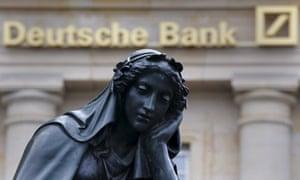 Deutsche Bank logo and statue