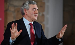 Gordon Brown speaking at an election rally in Glasgow ahead of the European parliamentary elections
