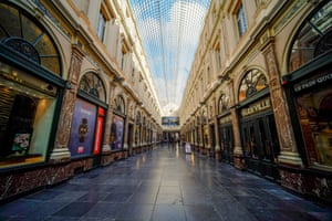 The empty Galeries Royales Saint-Hubert shopping street in Belgium
