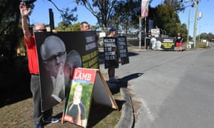 Protesters outside Atlas Heavy Engineering in the Longman electorate on Monday when the foreign affairs minister, Julie Bishop, was there.