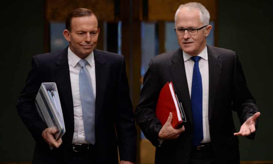 Tony Abbott and Malcolm Turnbull walk into the House of Representatives before the leadership change.