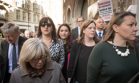 About 40 MPs marched with Ruth Smeeth to a party disciplinary hearing.